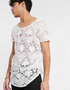 Супердлинная футболка с овальным вырезом, выжженным узором пейсли и закругленным краем ASOS DESIGN-Белый