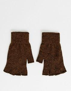 Перчатки табачного цвета без пальцев ASOS DESIGN-Светло-коричневый