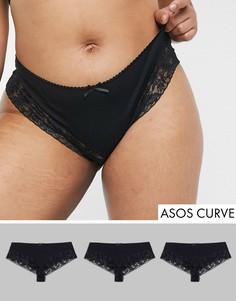 Набор из 3 хлопковых бразильских трусов с кружевными вставками ASOS DESIGN Curve-Черный