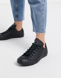 Черные кожаные кроссовки Converse Chuck Taylor All Star Ox-Черный цвет