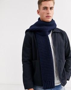 Темно-синий вязаный шарф ASOS DESIGN