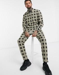 Клетчатый спортивный костюм с курткой Харрингтон и джоггерами ASOS DESIGN-Бежевый