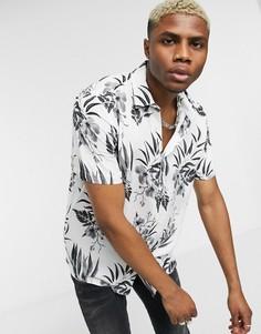 Светло-бежевая рубашка с цветочным принтом Topman-Белый