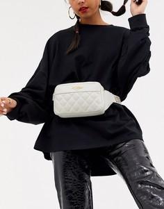 Стеганая сумка через плечо цвета слоновой кости Love Moschino-Кремовый