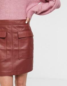 Красная кожаная мини-юбка с карманами Selected Femme-Красный