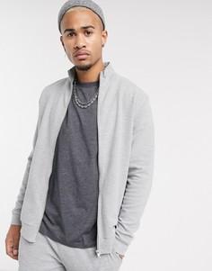 Серая трикотажная спортивная куртка в рубчик ASOS DESIGN-Серый