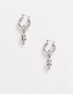 Серебристые серьги-подвески в виде колец Uncommon Souls-Серебряный