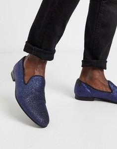 Темно-синие блестящие лоферы Twisted Tailor-Темно-синий