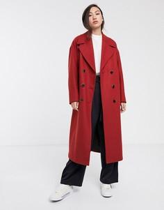 Красное длинное oversize-пальто Selected Femme-Красный