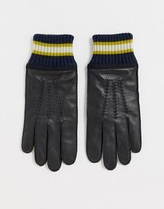 Черные кожаные перчатки с манжетами в рубчик Ted Baker - Forchet-Черный
