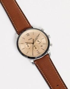 Коричневые часы с кожаным ремешком Fossil FS5627 Neutra Chrono-Коричневый