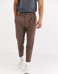 Суженные книзу строгие коричневые брюки Selected Homme-Коричневый