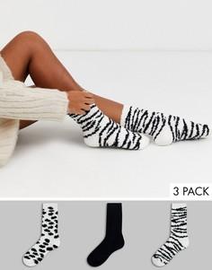 Набор из 3 пар мягких носков с зебровым принтом Loungeable-Мульти