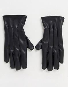 Черные перчатки из искусственной кожи Jack & Jones-Черный