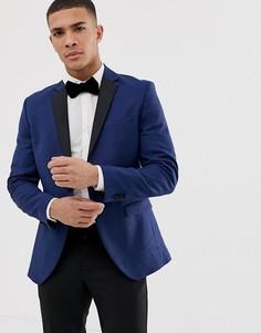 Пиджак-смокинг с контрастными лацканами Jack & Jones Premium-Синий