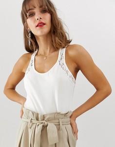 Майка со спиной-борцовкой и кружевной вставкой Vero Moda-Белый