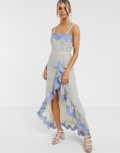 Платье макси с вышивкой и оборками We Are Kindred-Синий
