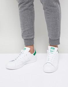 Белые кожаные кроссовки с зеленой отделкой adidas Originals - Stan Smith-Белый