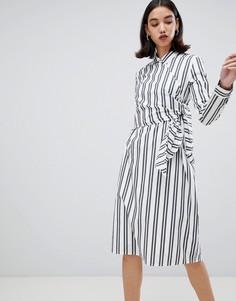 Платье-рубашка в полоску с поясом Selected Evelyn-Белый