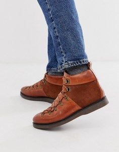 Кожаные коричневые ботинки H by Hudson Calverston-Светло-коричневый