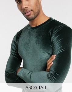 Зеленая велюровая футболка с длинными рукавами ASOS DESIGN Tall-Зеленый