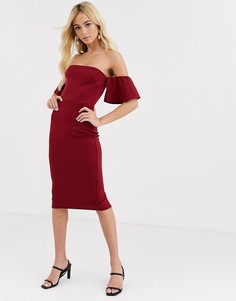 Платье миди с открытыми плечами и оборками на рукавах True Violet-Красный