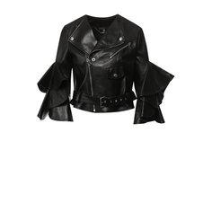 Куртки Alexander McQueen Кожаная куртка с оборками на рукавах Alexander McQueen