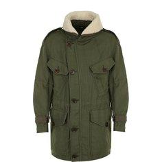 Куртки Burberry Хлопковая парка на молнии с меховой отделкой воротника Burberry