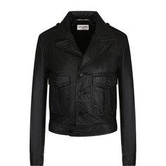 Куртки Saint Laurent Укороченная кожаная куртка на пуговицах Saint Laurent