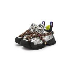 Кроссовки Gucci Комбинированные кроссовки Flashtrek с отделкой кристаллами Gucci