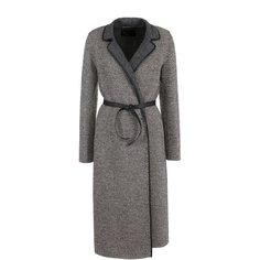 Пальто и плащи Loro Piana Шерстяное пальто с кожаным поясом Loro Piana