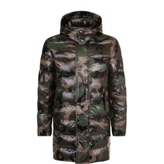 Куртки Valentino Пуховик свободного кроя с камуфляжным принтом Valentino