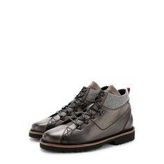 Высокие кожаные ботинки на шнуровке с внутренней меховой отделкой Kiton
