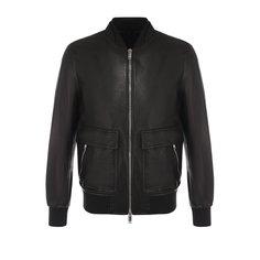 Куртки Valentino Кожаный бомбер на молнии с эластичными манжетами Valentino