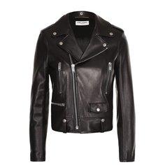 Куртки Saint Laurent Кожаная укороченная куртка с косой молнией Saint Laurent