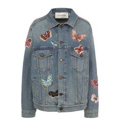 Куртки Valentino Джинсовая куртка с потертостями и отделкой в виде бабочек Valentino