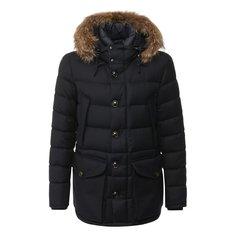 Куртки Moncler Пуховая куртка Rethe на молнии с меховой отделкой капюшона Moncler