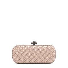 Клатчи и вечерние сумки Bottega Veneta Клатч Stretch Knot из сатина с отделкой из кожи змеи Bottega Veneta