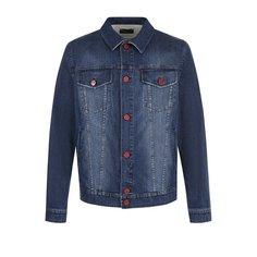 Куртки Kiton Джинсовая куртка на пуговицах с потертостями Kiton