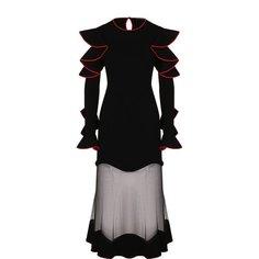 Платья Alexander McQueen Приталенное платье-миди с оборками и контрастной отделкой Alexander McQueen