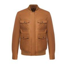 Куртки Bottega Veneta Кожаный бомбер на молнии с карманами Bottega Veneta