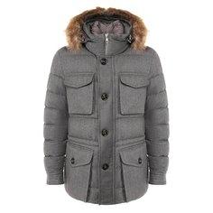 Куртки Moncler Шерстяной пуховик с меховой отделкой Moncler