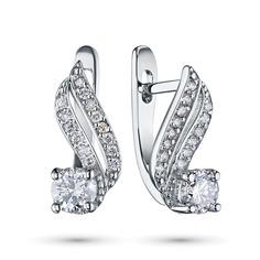 Серьги из белого золота с бриллиантами э09с010807 ЭПЛ Якутские Бриллианты