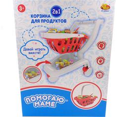 Игровой набор Abtoys Корзина-тележка для продуктов 2 в 1 Помогаю Маме, 27 предметов (PT-00622(WK-B9714))