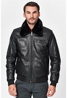 Утепленная кожаная куртка с отделкой овчиной Urban Fashion for men