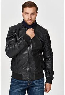 Утепленный кожаный бомбер Urban Fashion for men