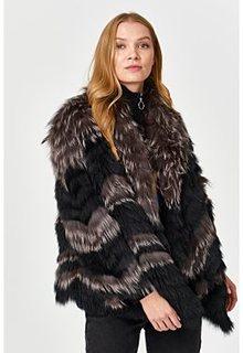 Комбинированная шуба из меха чернобурки и песца Virtuale Fur Collection