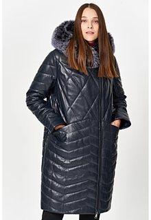Утепленное кожаное пальто с отделкой мехом песца Снежная Королева