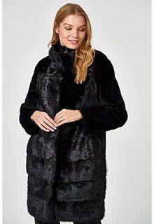 Комбинированная шуба из овчины и меха норки Virtuale Fur Collection