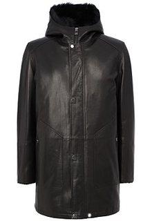 Удлиненная кожаная куртка с подкладкой из овчины Jorg Weber